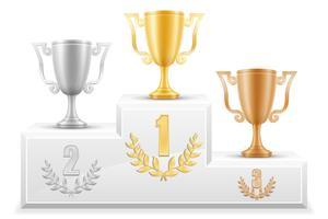 deporte ganador podio pedestal stock vector ilustración