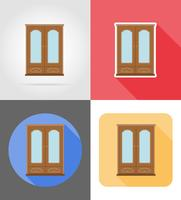cupboard furniture set flat icons vector illustration