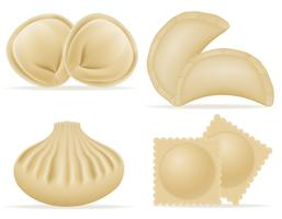 dumplings of dough with a filling set icons vector illustration