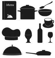 set kitchen icons for restaurant cooking vector illustration black silhouette