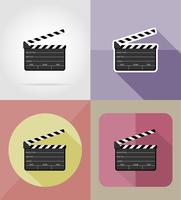 clapper board iconos planos vector illustration