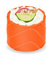 sushi rolls in red fish vector illustration