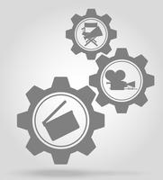 cinema gear mechanism concept vector illustration