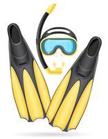 Máscara de tubo y aletas para buceo ilustración vectorial