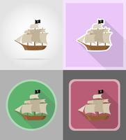 piratenschip plat pictogrammen vector illustratie