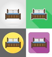 bed furniture set flat icons vector illustration
