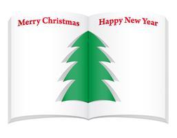taccuino in bianco con l'illustrazione di vettore dell'albero del nuovo anno e di natale