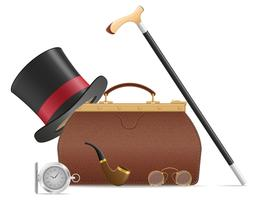 old valise and retro mens accessories vector illustration