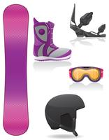 set icons equipment for snowboarding vector illustration