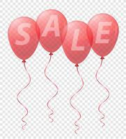 transparent red balloons with the inscription sale vector illustration