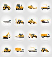 automobile transport for repair and construction flat icons vector illustration