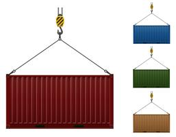 container hanging on the hook of a crane vector illustration
