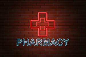 glowing neon signboard pharmacy vector illustration