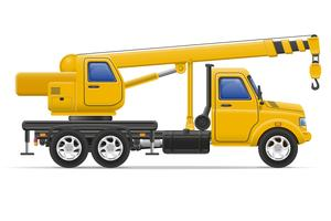 cargo truck with crane for lifting goods vector illustration