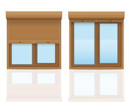 braunes Plastikfenster mit Rollenfensterladenvektorillustration