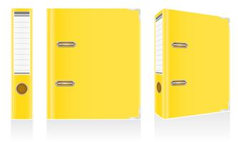 folder yellow binder metal rings for office vector illustration
