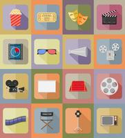 illustrazione piana di vettore delle icone piane del cinema delle icone
