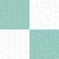 aqua blue green and white botanical floral patterns
