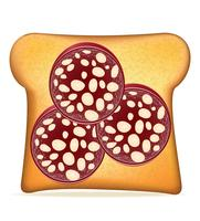 toast with sausage vector illustration