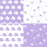 white and lavender hand drawn botanical floral patterns vector