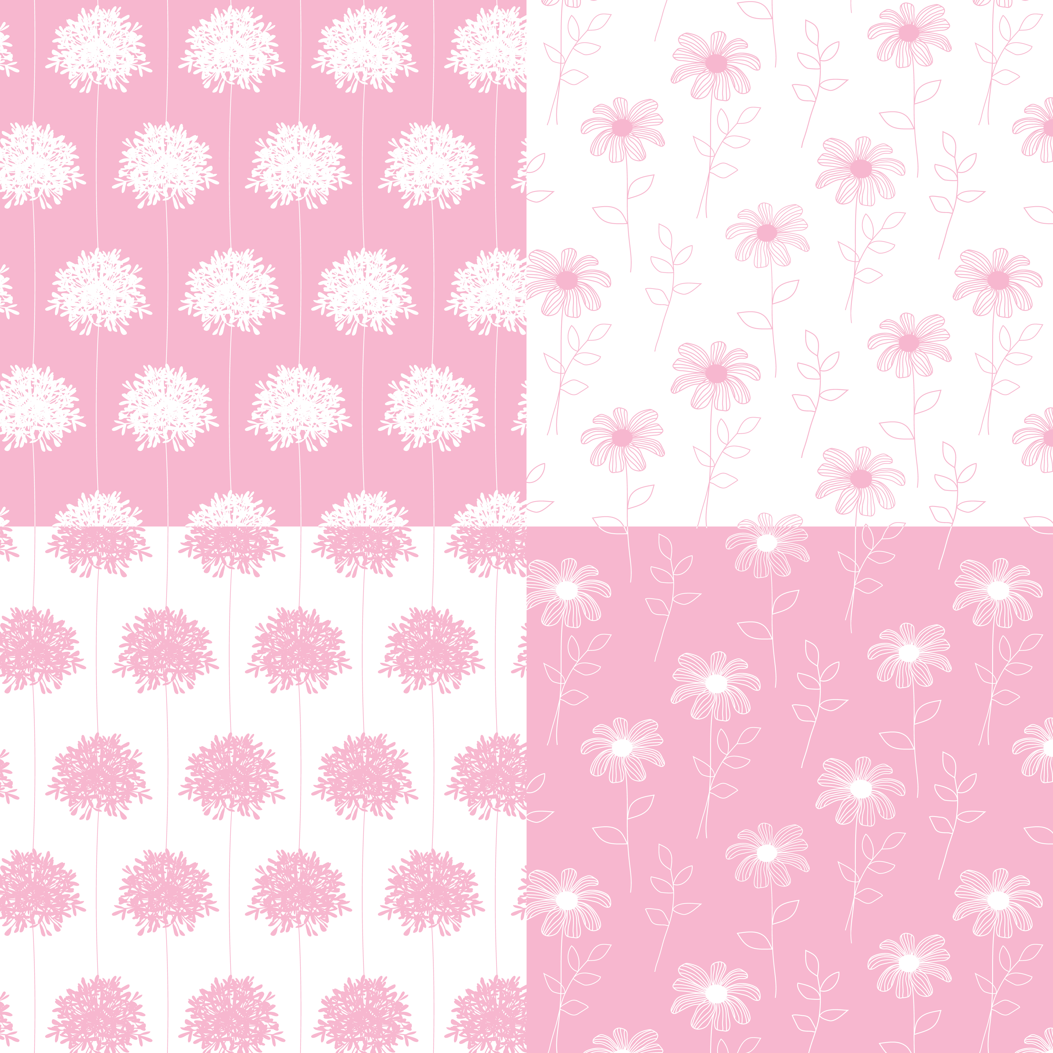 White And Pink Hand Drawn Botanical Floral Patterns Download