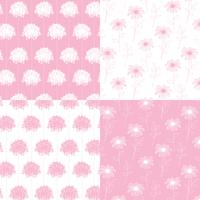 white and pink hand drawn botanical floral patterns vector