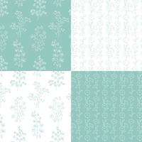 aqua blue green and white hand drawn botanical floral patterns