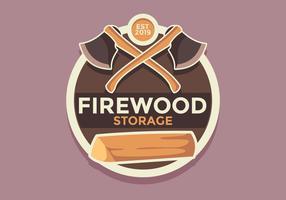 Vecteur de badge rétro de stockage de bois de chauffage