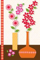 mod flower vases vector graphic placement