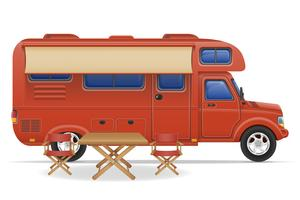 car van caravan camper mobile home vector illustration