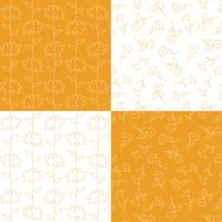 orange and white  botanical floral patterns