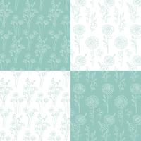 aqua blue green and white hand drawn botanical patterns