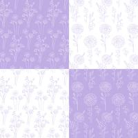 lavender and white hand drawn botanical patterns vector