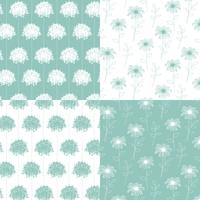 white and aqua blue green hand drawn botanical floral patterns vector