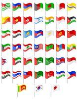 Banderas de los países de Asia ilustración vectorial