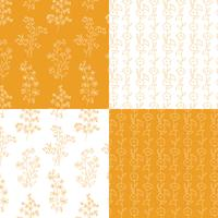 orange and white hand drawn botanical floral patterns