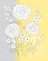 placement graphique vectoriel floral gris jaune