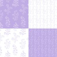 lavender and white hand drawn botanical floral patterns vector