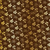 metallic gold  leaves pattern  on brown vector