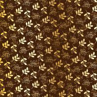motif de feuilles d'or métalliques sur marron