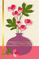 pink flowers in vase vector graphic placement