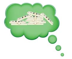 Konzept des Traums eines Geldes in der Wolkenvektorillustration