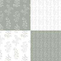 gray and white hand drawn botanical floral patterns