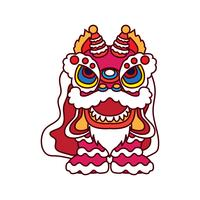 lion dance for chinese new year festival vector