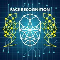 human face recognition scanning system vector