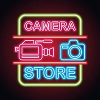 camera equipment with neon sign effect for camera store vector