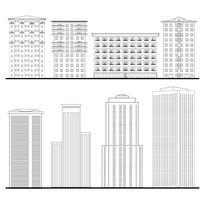 City buildings set. Outline blueprint. skyscraper building facade.