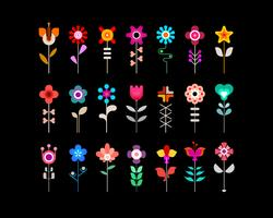 Colorful flower vector icon set