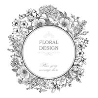 Floral background. Flower bouquet cover. Flourish greeting card vector