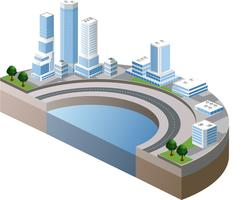 Vector isometric view of the harbor